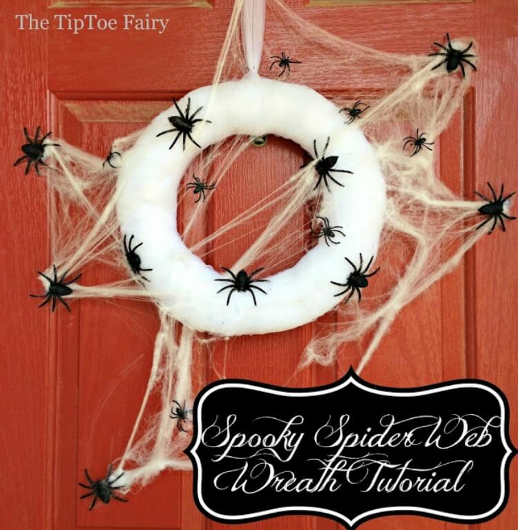 Spooky Spider Web Wreath for Halloween