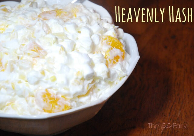 Heavenly Hash - a holiday fruit salad perfect for Thanksgiving or Christmas. This is an old family recipe. | The TipToe Fairy