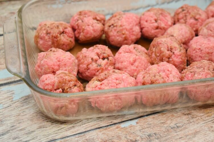 Beef Meatball Recipe ready to cook in the microwave.