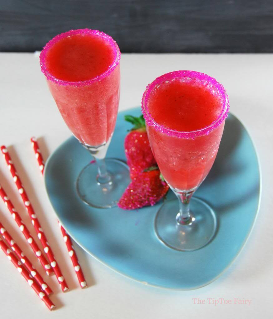 Strawberry Slush Mocktail | Valentine's Day Mocktails