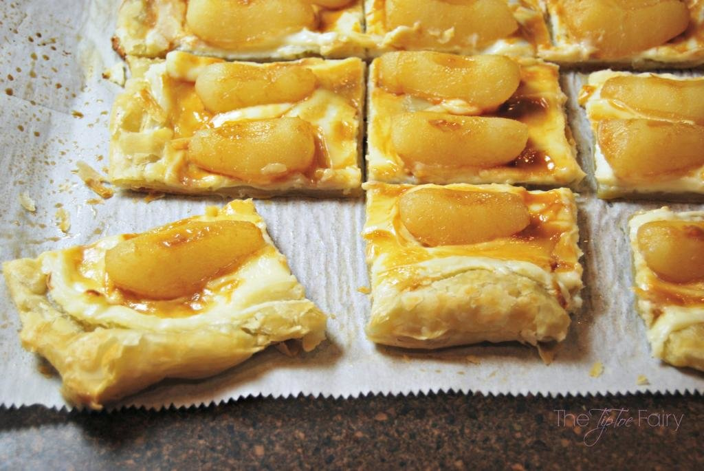 Dulce de leche drizzled over Roasted Pear Puff Pastry
