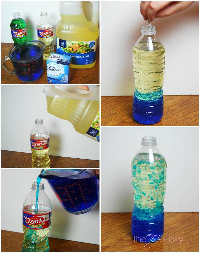 Lava Lamps with old water bottles with oil and water and Alka Seltzer!