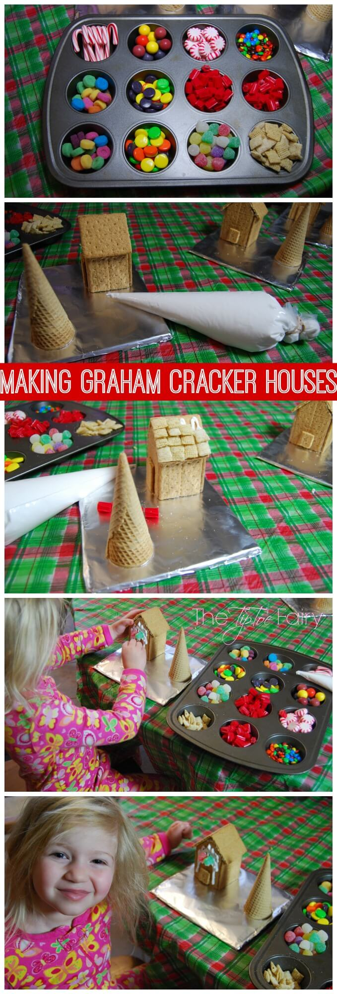 A perfect holiday treat! Make a Graham Cracker House (or gingerbread houses) and Snowmen peanut butter cookie dough truffles for Christmas decorating! | The TipToeFairy #PBandG #ad #gingerbreadhouse