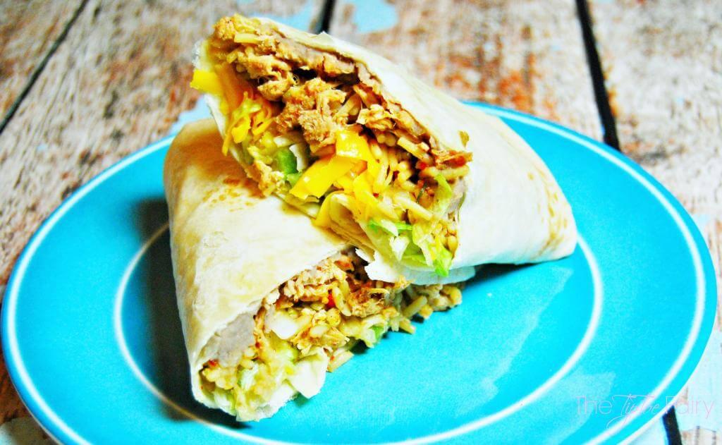 Burritos using this easy peasy 2-ingredient salsa chicken.