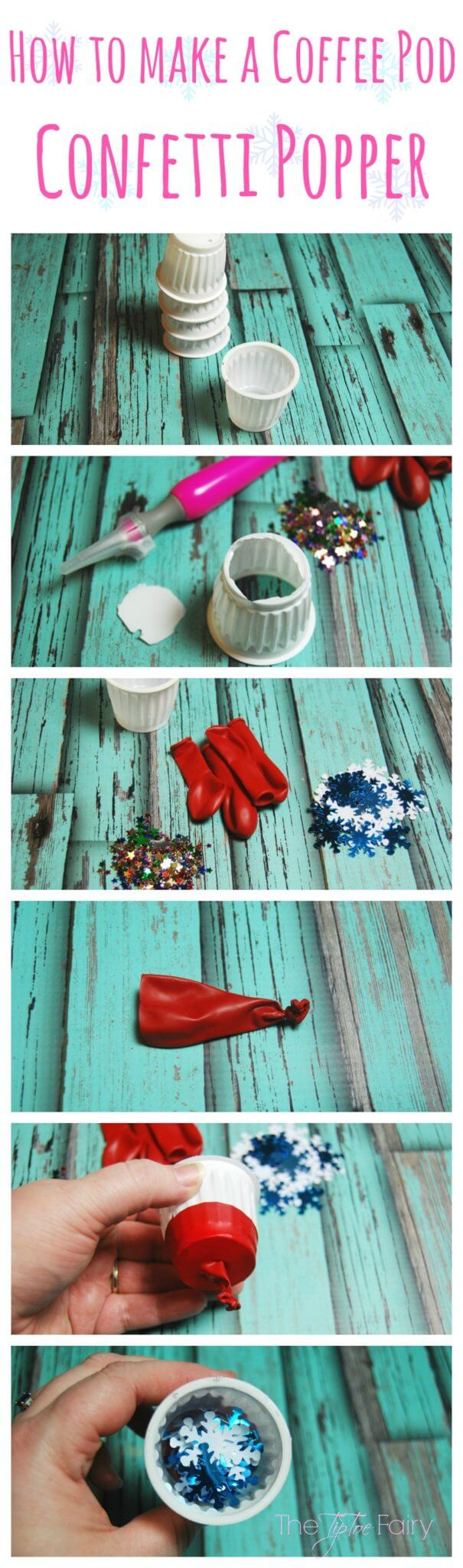 Make Confetti Poppers with upcycled Coffee Pods - an easy tutorial. Great for little hands of preschoolers for New Year's Eve!   The TipToe Fairy #McCafeMyWay #ad #tutorial