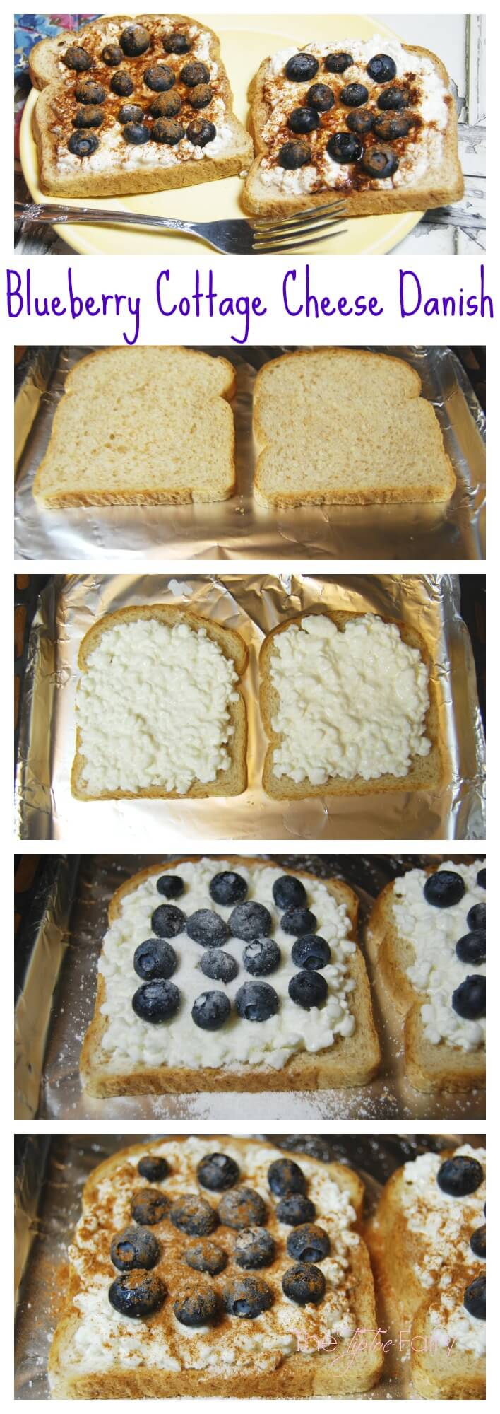 Blueberry Cottage Cheese Danish - a quick and delicious meal to start your New Year's resolution off right. With less than 300 calories for TWO!   The TipToe Fairy #LittleChanges #IC #ad