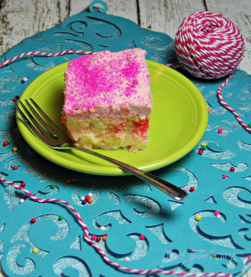 Bubblegum Poke Cake - perfect for kid birthday parties | The TipToe Fairy