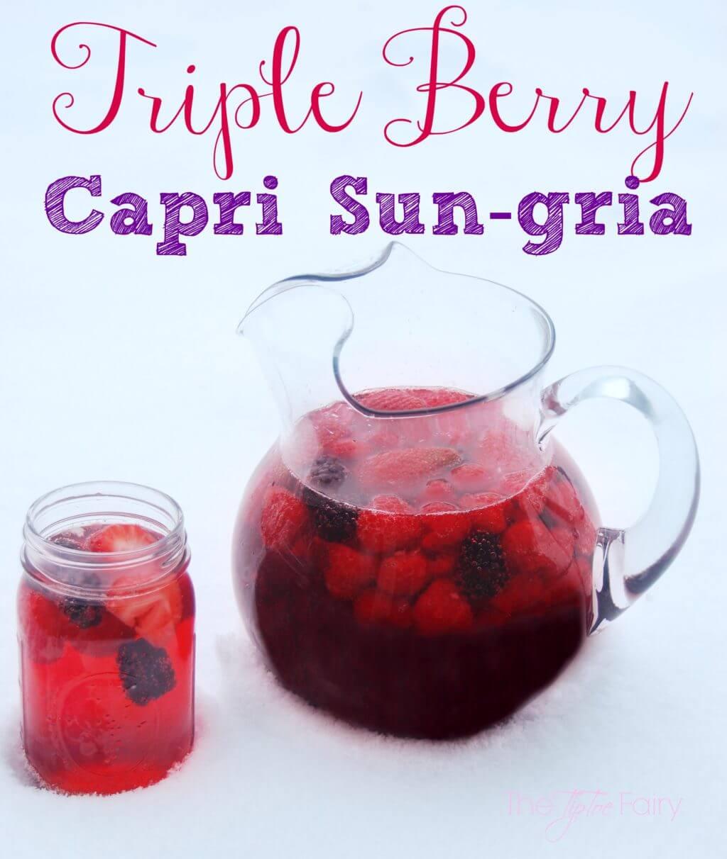 Triple Berry Capri Sun-gria - A delicious sangria recipe full of berries | The TipToe Fairy