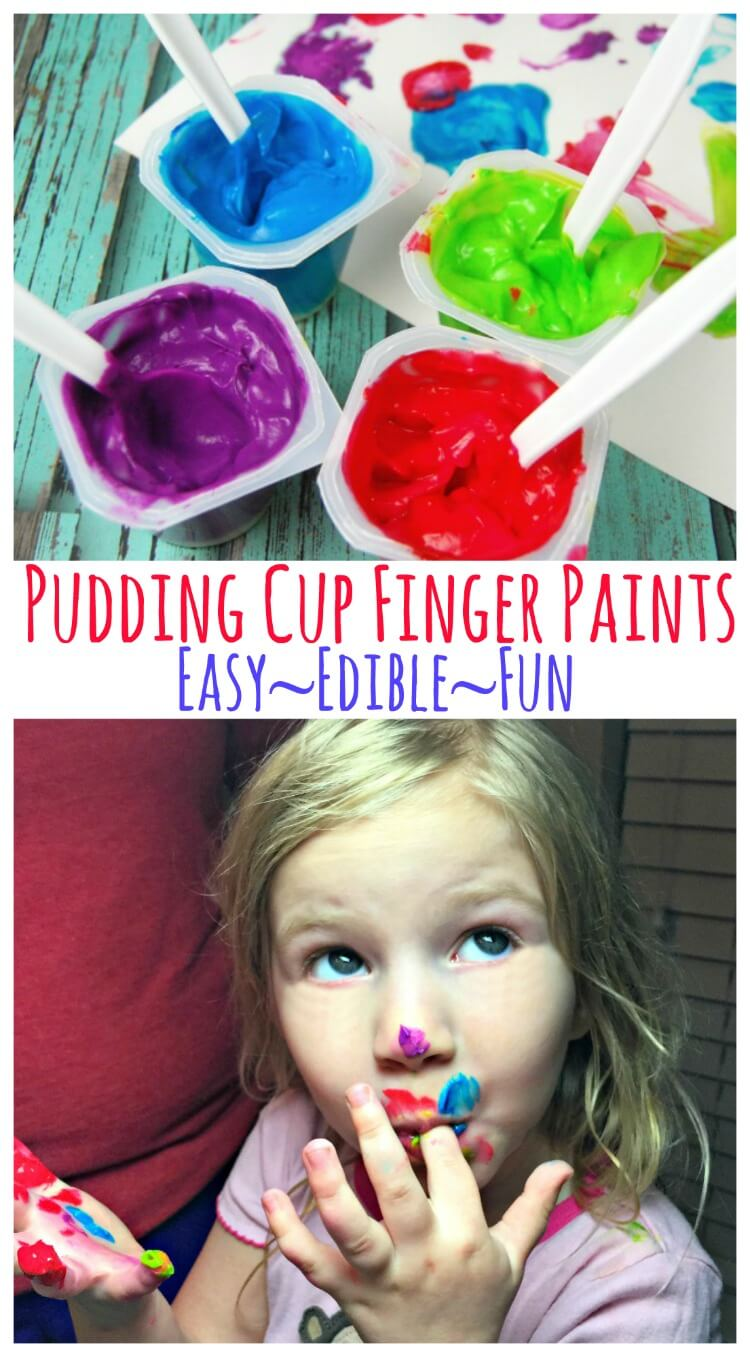 Easy & Edible Pudding Cup Finger Paints - made in seconds! #kids #craft #diy #ad