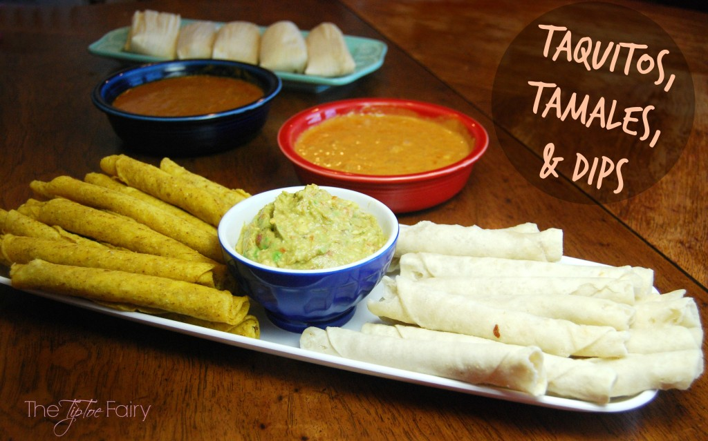 Three Easy Dips for Taquitos and Tamales - skillet queso, salsa guacamole, and Mexican chili gravy | The TipToe Fairy #DelimexFiesta #Ad