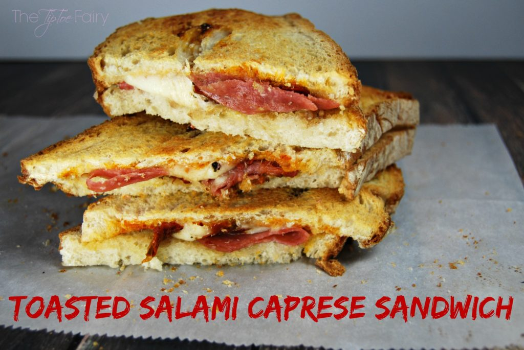 Totally Easy Toasted Salami Caprese Sandwich with Sweet Balsamic Dressing - my #TuranoHack #ad | The TipToe Fairy