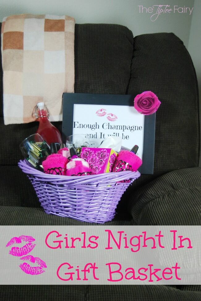 Girls Night In Gift Basket - perfect for hanging out with your best friends and watching movies! | The TipToe Fairy #KleenexStyle #ad