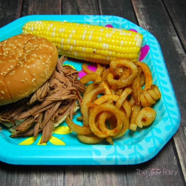 Barbecue Brisket Dinner with fresh corn on the cob and Ore-Ida Bold & Crispy Fries   The TipToe Fairy #FindYourBold #ad