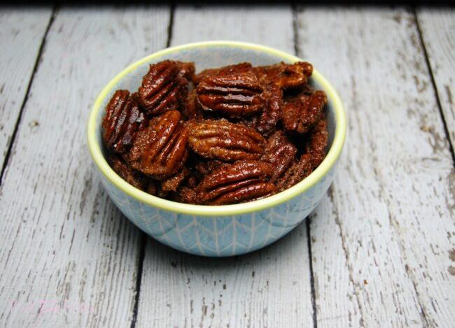 Candied Bourbon Pecans - a simple recipe for topping desserts! | The TipToe Fairy