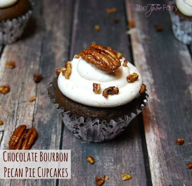 Chocolate Bourbon Pecan Pie Cupcakes - simply amazing for the Kentucky Derby or anytime! | The TipToe Fairy