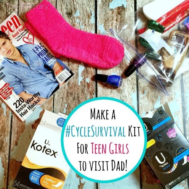 Does your daughter visit Dad on the weekends? Then create an easy DIY Period Kit she can take with her, so she never feels embarrassed to ask! #ad #CycleSurvival | The TipToe Fairy