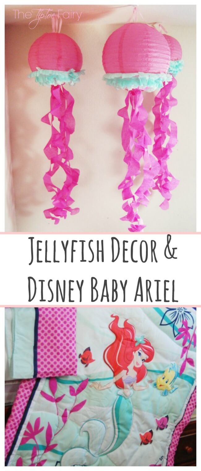 Disney Baby bedding Ariel with DIY Jellyfish Decor Hangings @Walmart #MagicBabyMoments [ad] | The TipToe Fairy