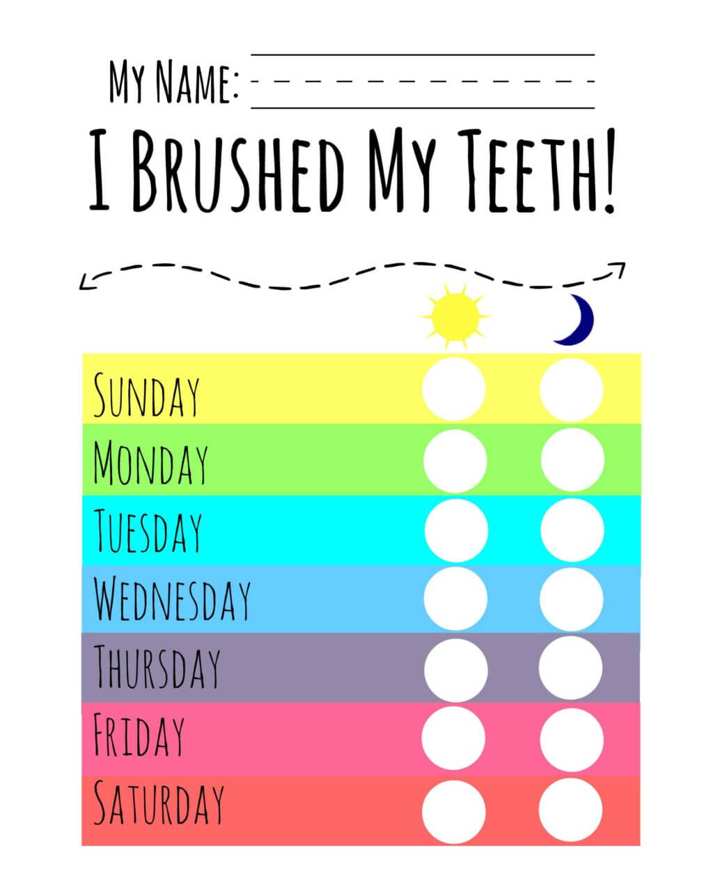 It's just an image of Bewitching Printable Tooth Brushing Chart