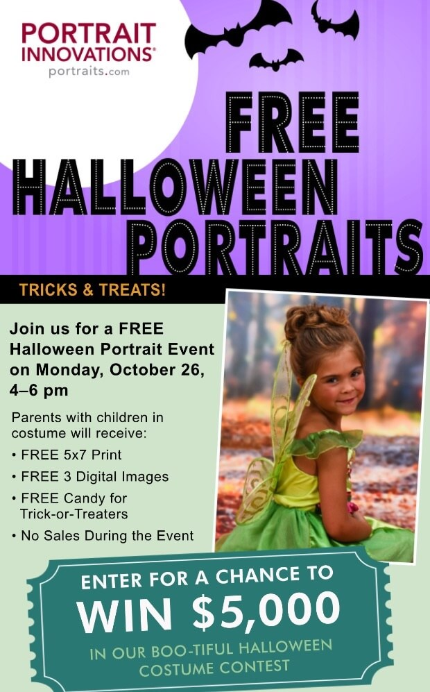 FREE Halloween Portraits for kids in costume at Portrait Innovations! #ad