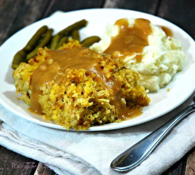 We love turkey gravy over our chicken and stuffing casserole.