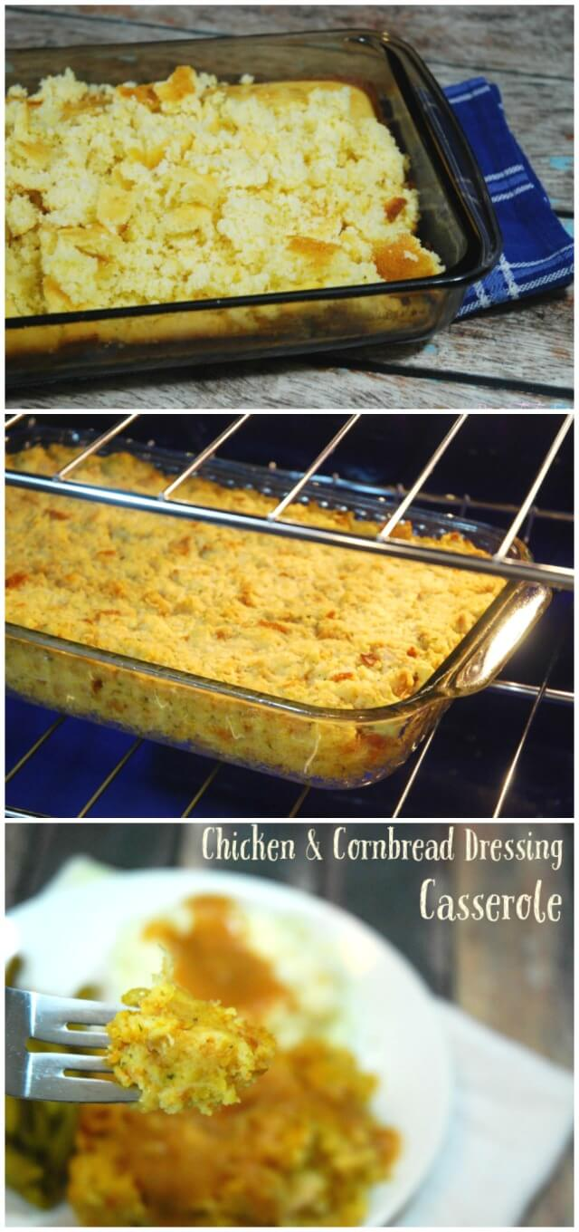 Cornbread Dressing Casserole -- Love Thanksgiving Food? Then you'll love this easy casserole dish, perfect for weeknight dinner! #ad | The TipToe Fairy