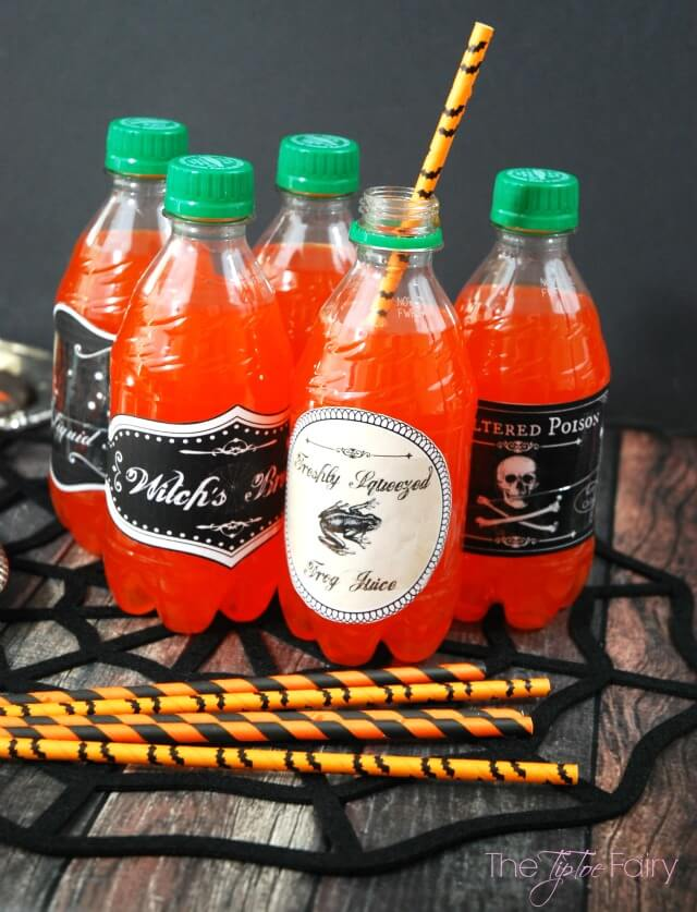 Halloween Drink Potions and Spooky Treats - make pumpkin OREO treats and drinking potion labels #ad #SpookyCreations   The TipToe Fairy