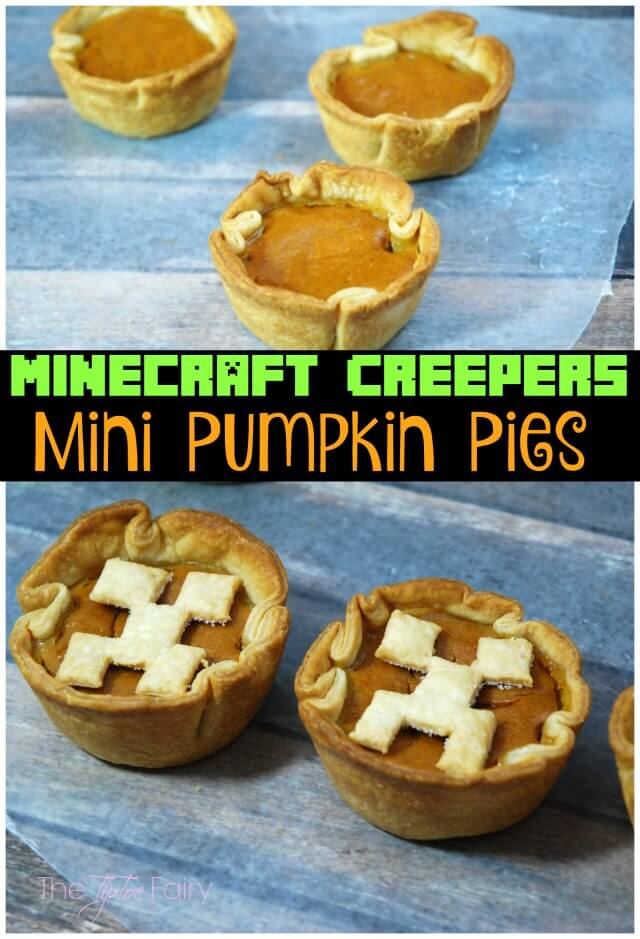 Minecraft Creeper Mini Pumpkin Pies - your kid doesn't even want to try pumpkin pie? They might want to try this one! | The TipToe Fairy