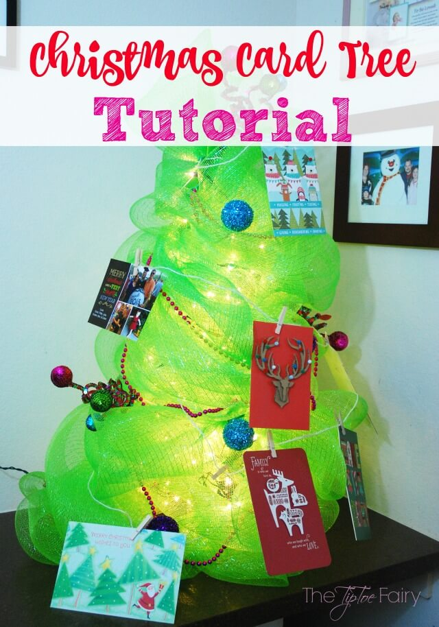 Display your #Christmas cards with a #DIY Christmas Card Tree! AD #SendHallmark @TheTipToeFairy