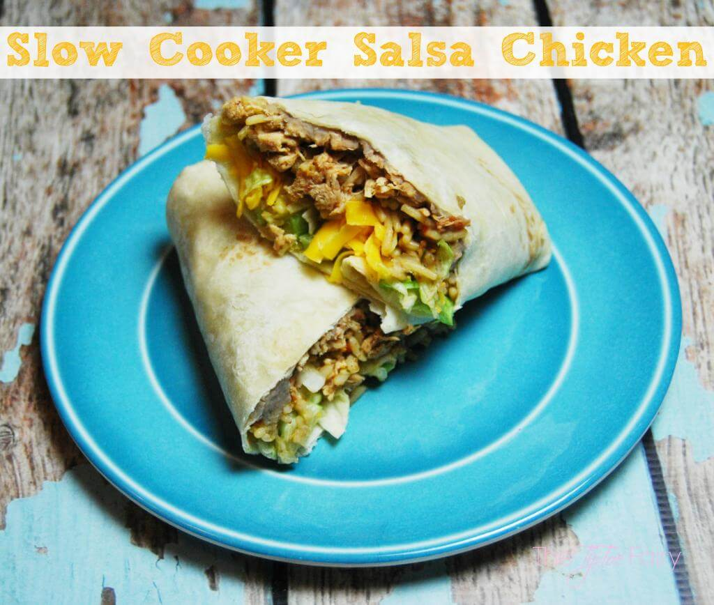 Easy Slow Cooker Salsa Chicken - just two ingredients!   From The TipToe Fairy #ad #MyBrothersSalsa #chicken