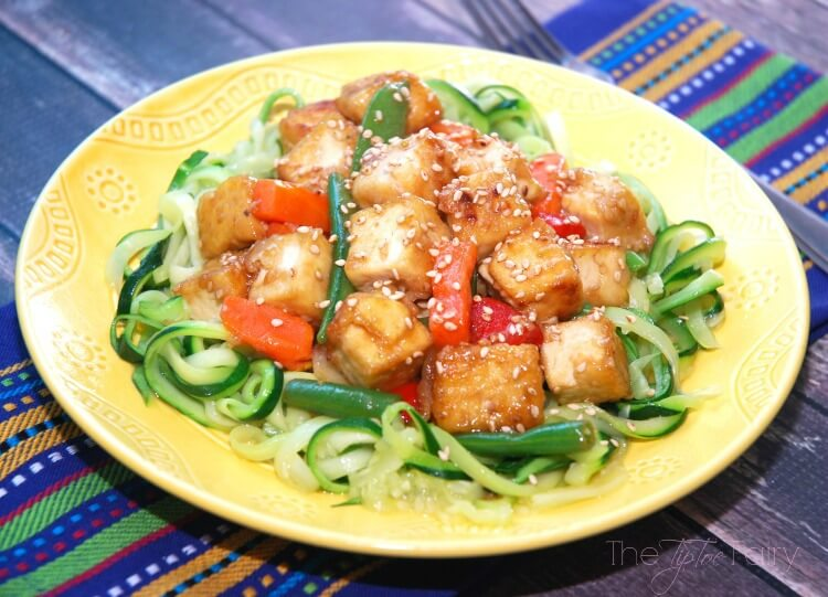Make the switch to soy w this easy Zucchini Tofu Stir Fry #food #soyfoodsmonth #AD #vegan