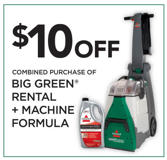 grab a 10 off coupon for a bissell big green carpet cleaner rental