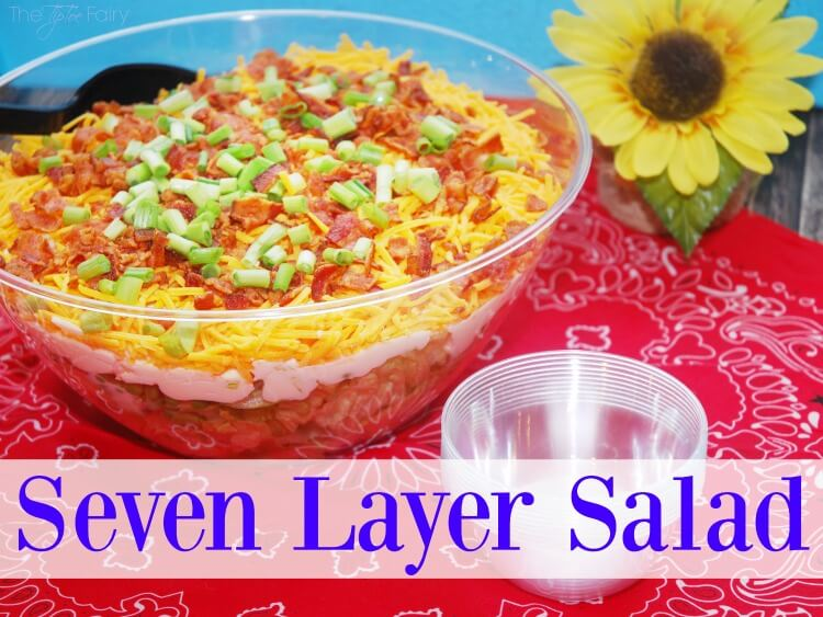 Simple 7 Layer Salad - perfect for potlucks! #food #foodie #BluePlateGreek #ad