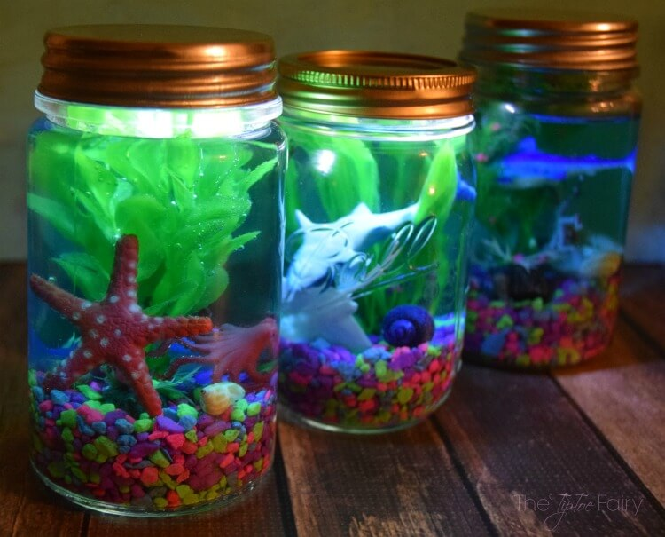 Light up mason jar aquariums the tiptoe fairy for Cool things to do with mason jars