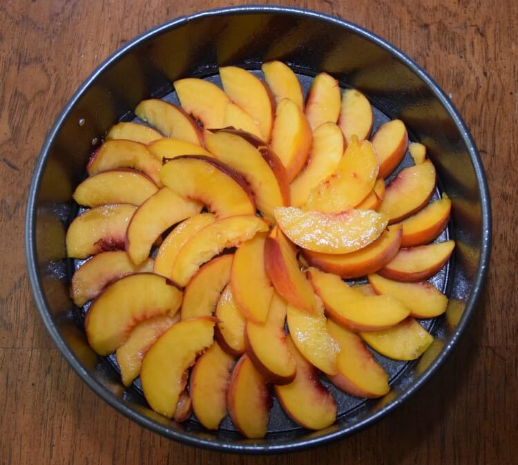 Brown Butter Peach Upside Down Cake & Clean springform pans w/ #ScrubbingPower #ad