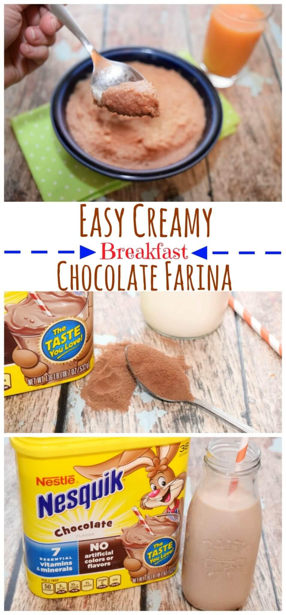 Make Creamy Delicious Chocolate Farina for #breakfast w/ Nesquik #StirImagination #ad