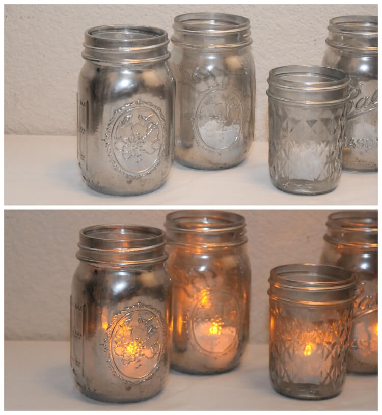 Make #DIY Mercury Glass Mason Jar Votives for your party tablescape w #StarbucksCaffeLatte #ad #MyStarbucksatHome