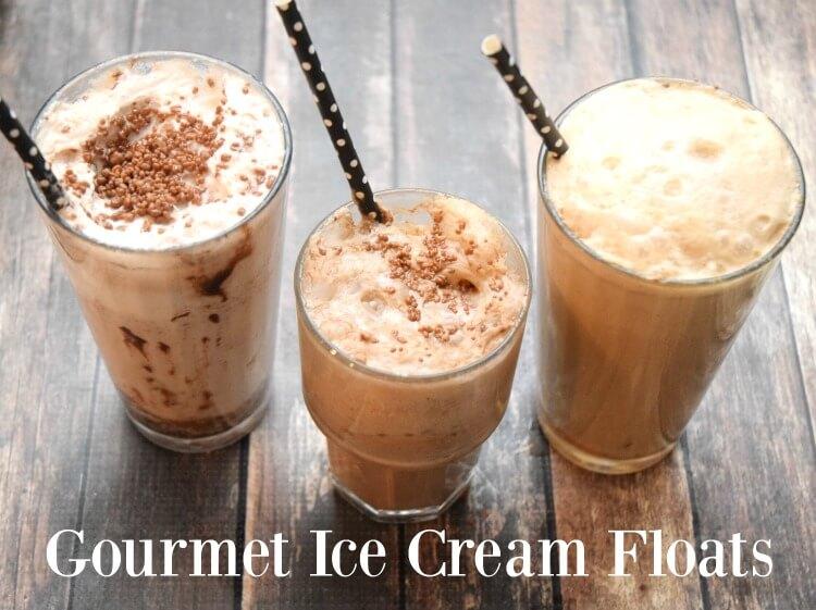 Three Easy Ways to make Gourmet Ice Cream Floats! #yum #drink #icecream