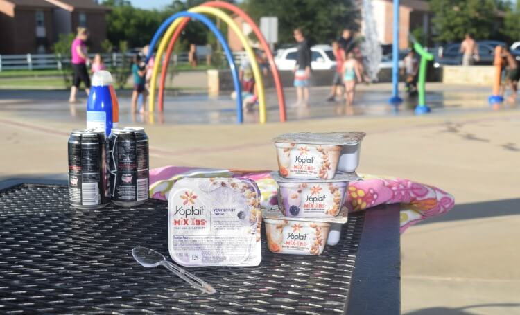 I love to take the kids to cool off at the splash pad and have my #YoplaitMixIns! #CreamyCrunchyYoplait #ad
