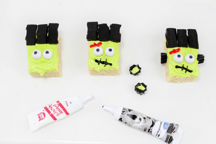 Easy Step by Step for Frankenstein Monster Rice Krispies Treats! #Halloween