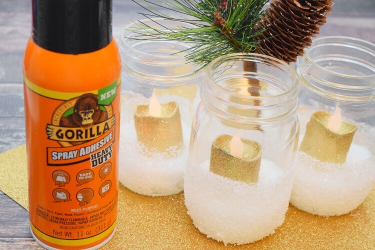 See how to make DIY Snow Luminaries for your holiday table or mantle! #ad #GorillaTough @GorillaGlue