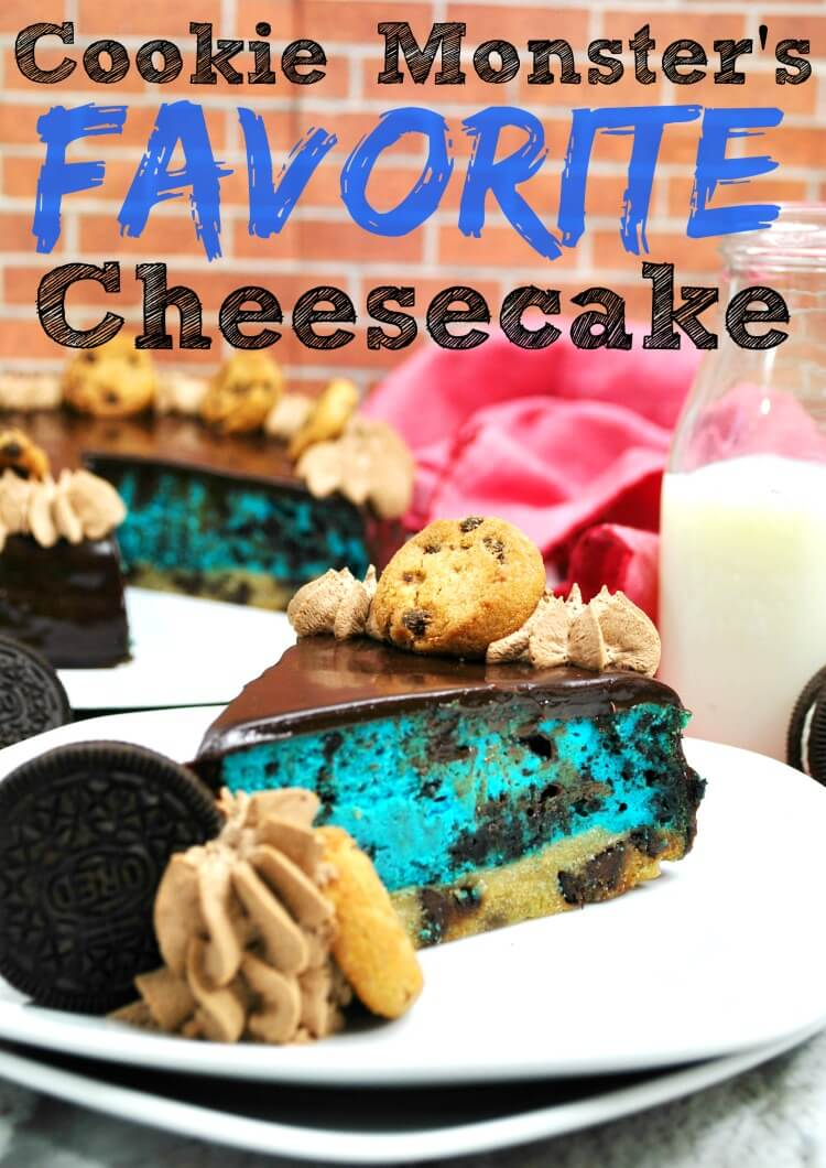 Cookie Monster's Favorite Cheesecake is a cookies and cream cheesecake his favorite color blue.