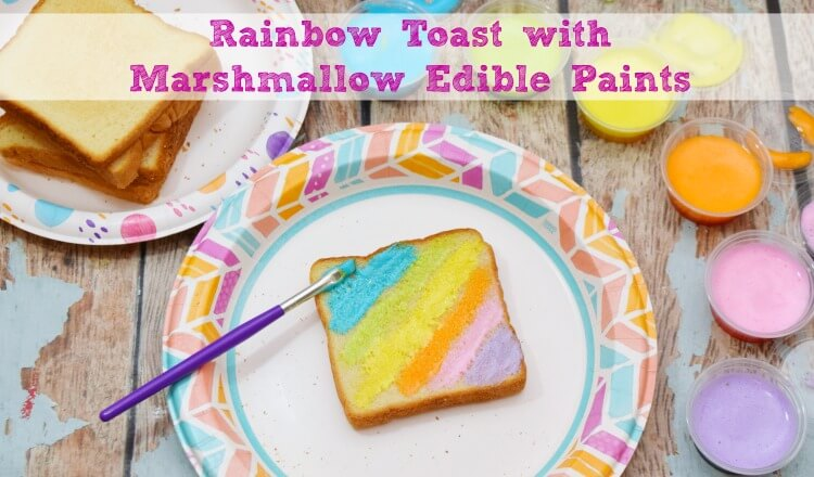Let your kids play with their food & make Rainbow Toast with Marshmallow Edible Paints! So easy to make! #ad @DollarGeneral #DixieSummerDG