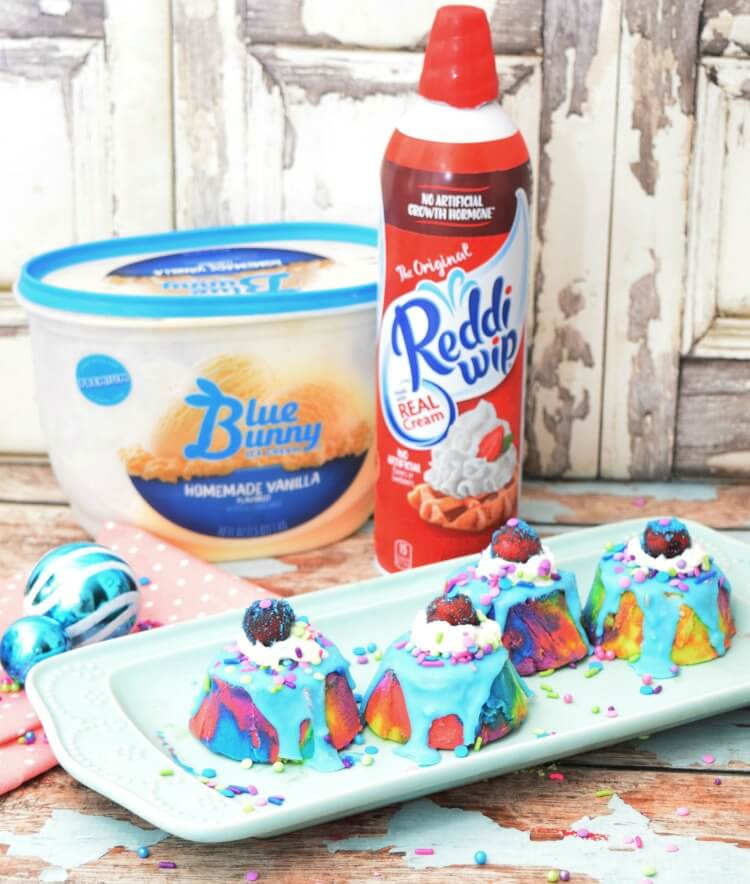 Mini Unicorn Ice Cream Cakes with Blue Bunny ice cream & Reddi-wip