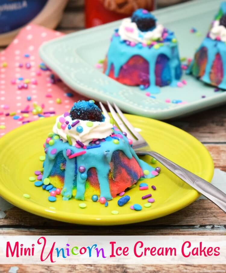Mini Unicorn Ice Cream Cakes