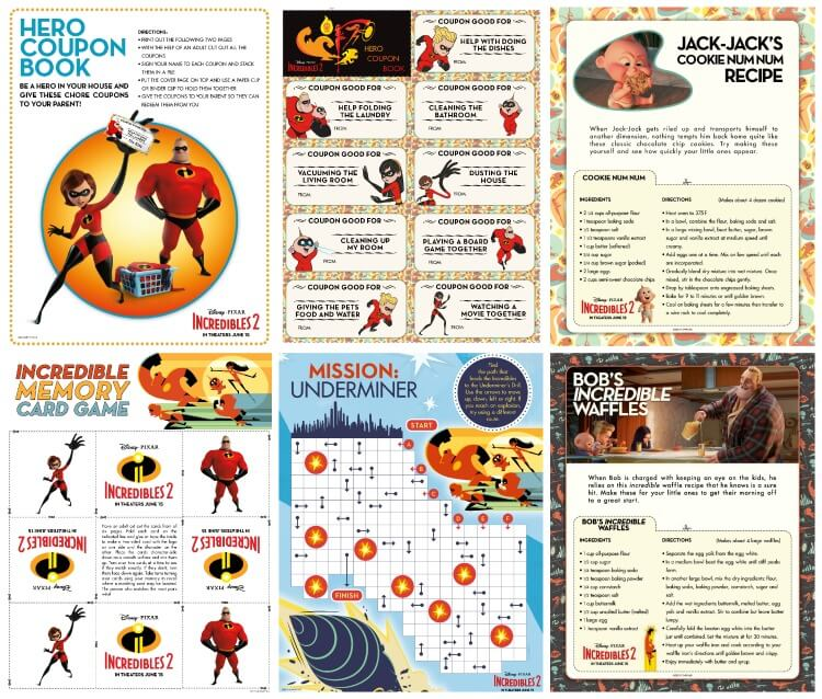 The Incredibles 2 activity sheets to download