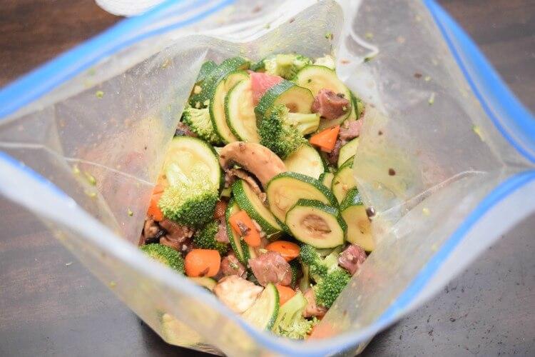 Quickly marinate the veggies and steak in a zipper bag
