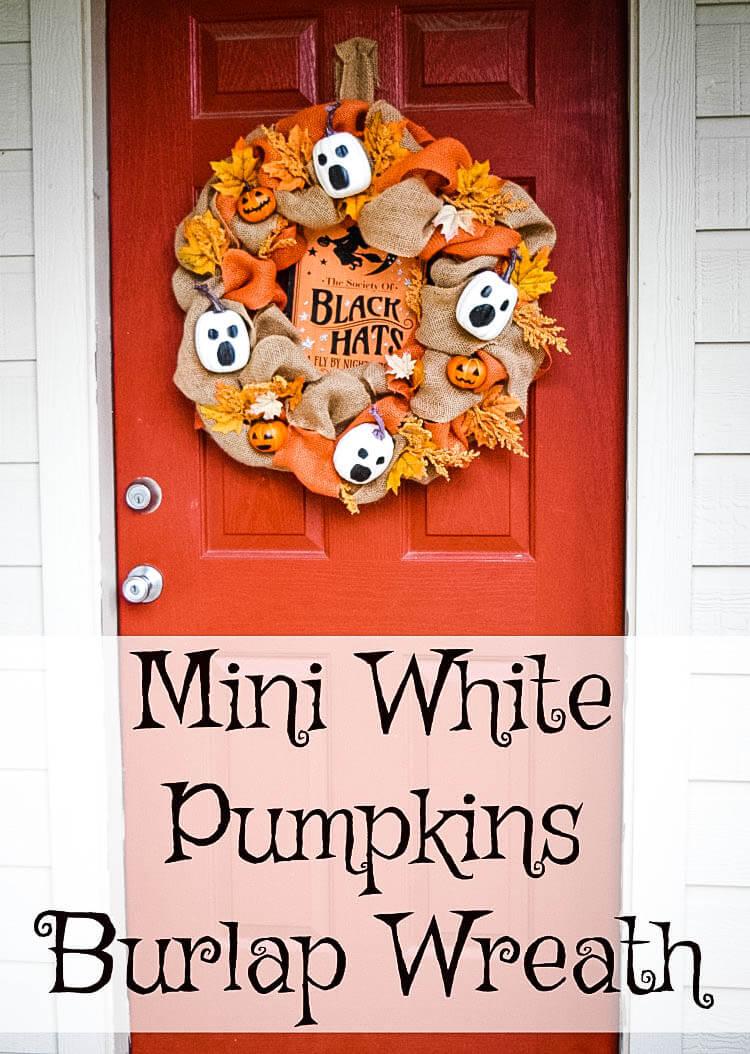 Mini White Pumpkin Ghost Burlap Wreath