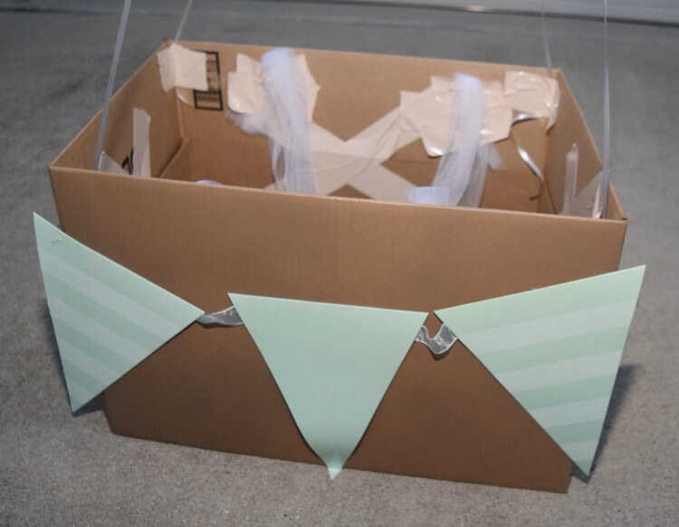 Add the party bunting to the box
