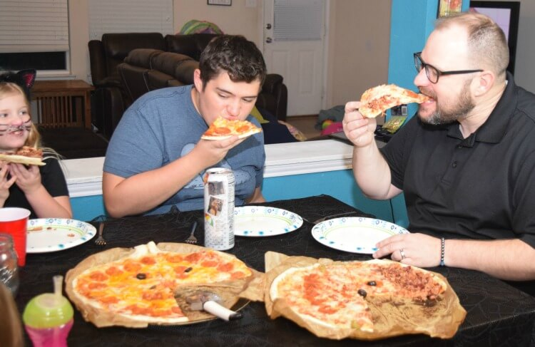 Eating Halloween Pizzas from Mr. Gatti's Pizza