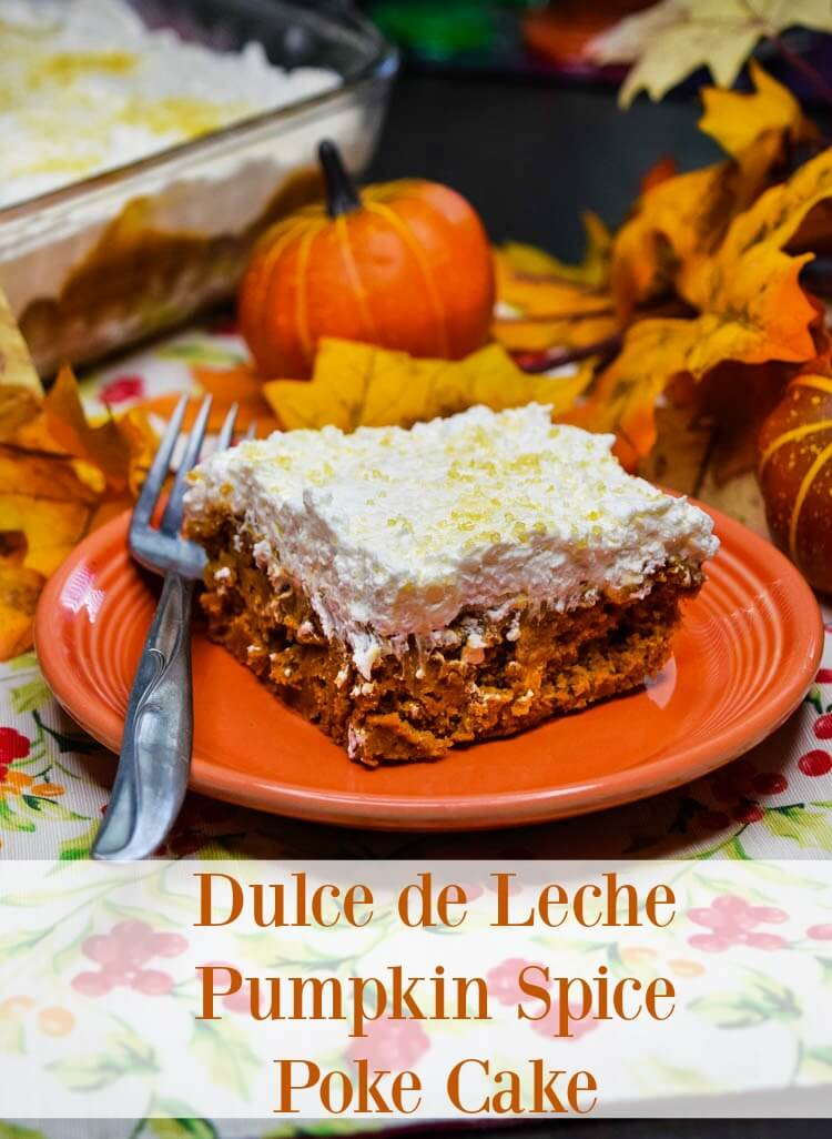 Dulce de Leche Pumpkin Spice Poke Cake